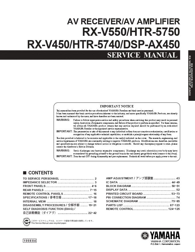Yamaha雅马哈 DSP-AX450 功放维修手册