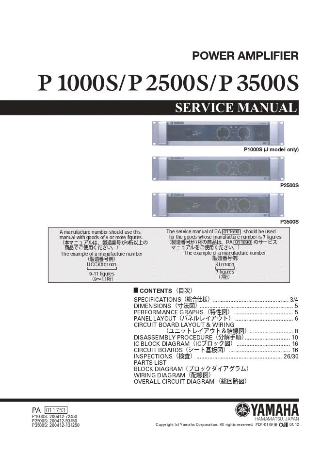 雅马哈yamaha P1000S功放维修手册