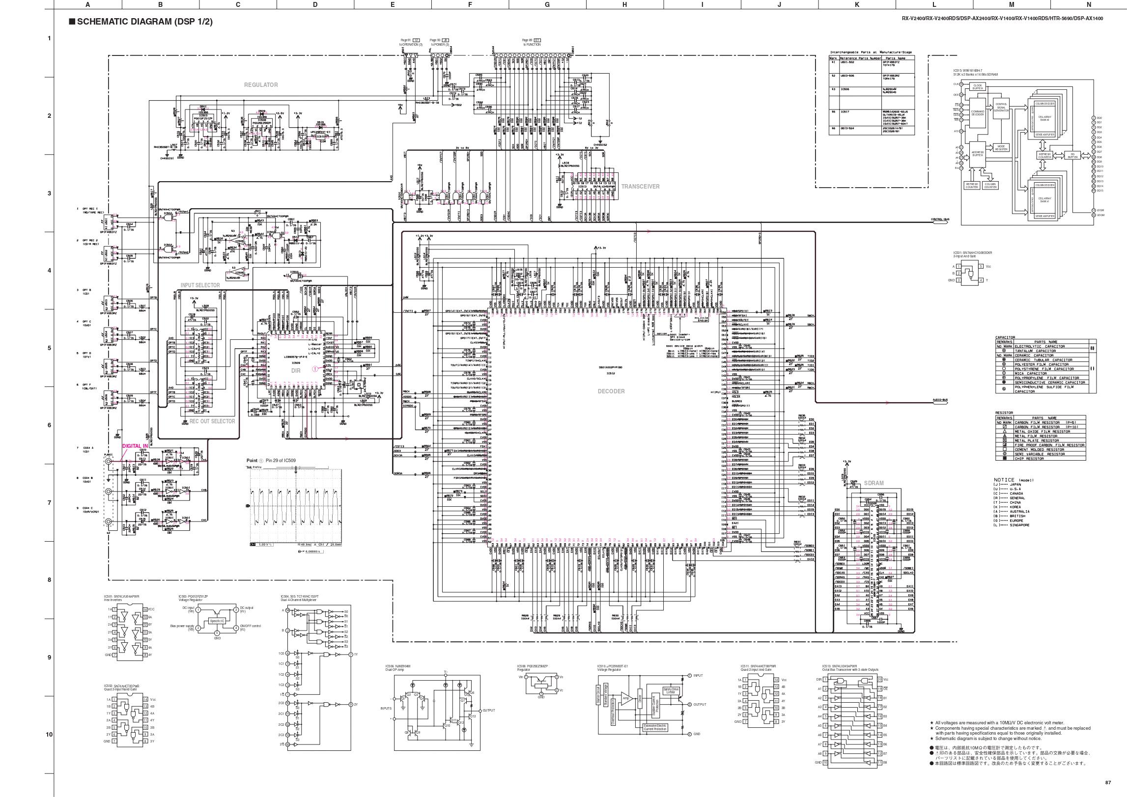 雅马哈Yamaha rx-v1400功放电路图