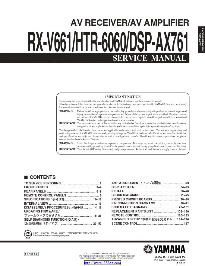 雅马哈yamaha RX-V661功放维修手册