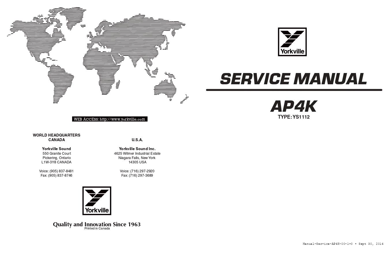 YORKVILLE威乐 YS1112 AP4K功放维修手册