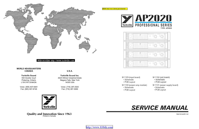 Yorkville威乐 AP2020功放维修手册