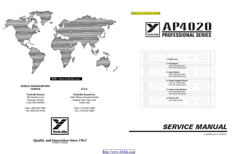 Yorkville威乐 AP4020 功放维修手册