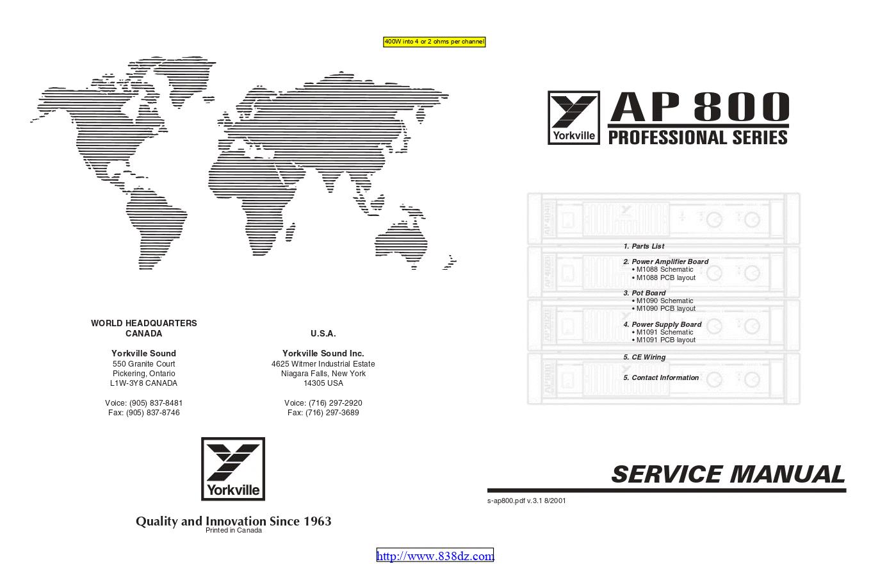 Yorkville威乐AP800 功放维修手册