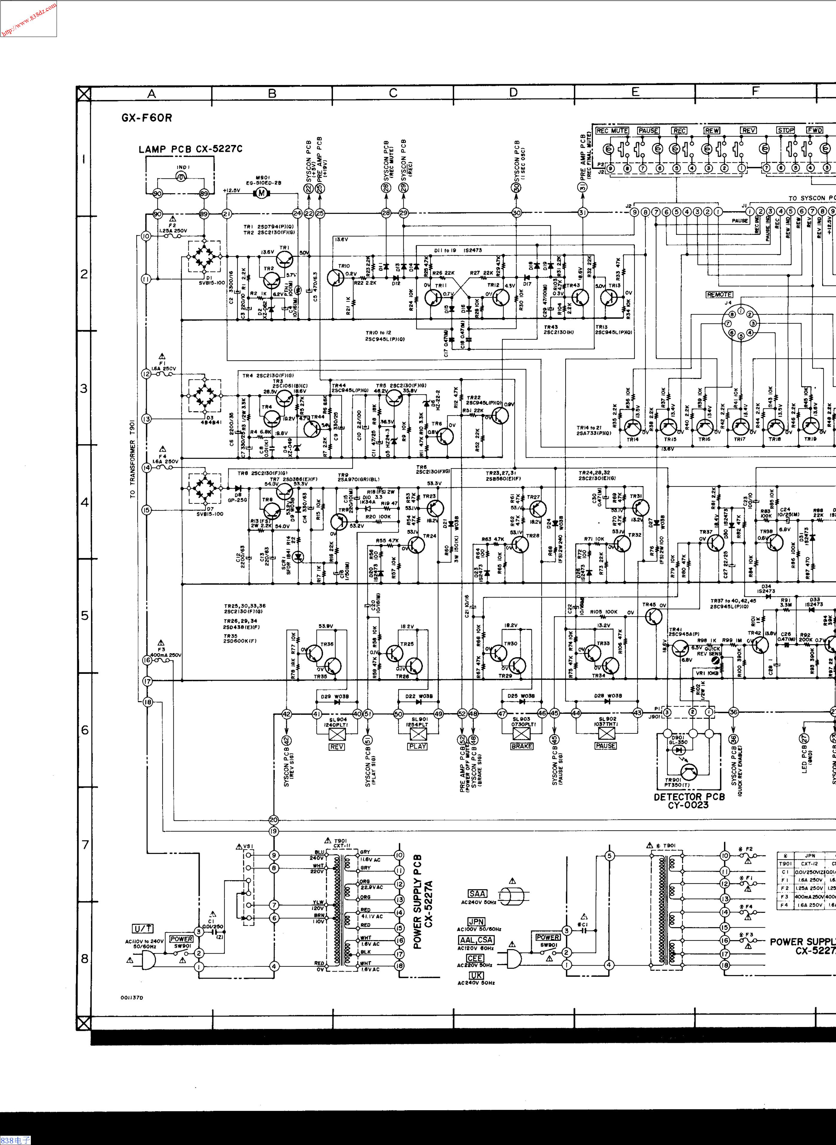 AKAI雅佳 GX-F60R 磁带卡座维修手册
