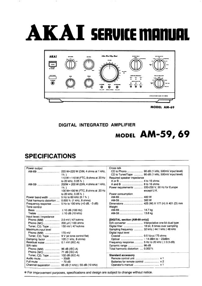 雅佳AKAI AM-69 功放维修手册