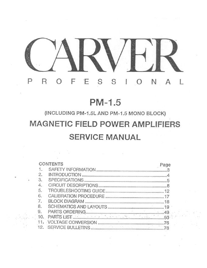 CARVER卡维 PM-1.5功放维修手册