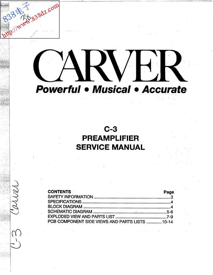 CARVER卡维C-3前级功放维修手册