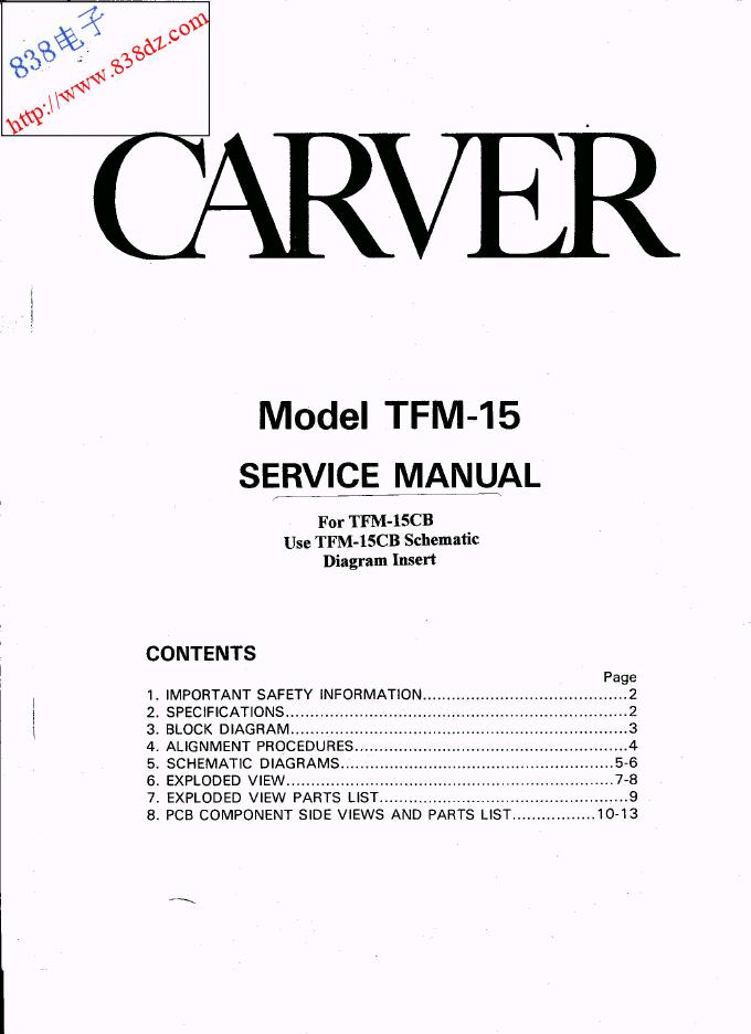 CARVER卡维TFM-15功放 2X100W维修手册