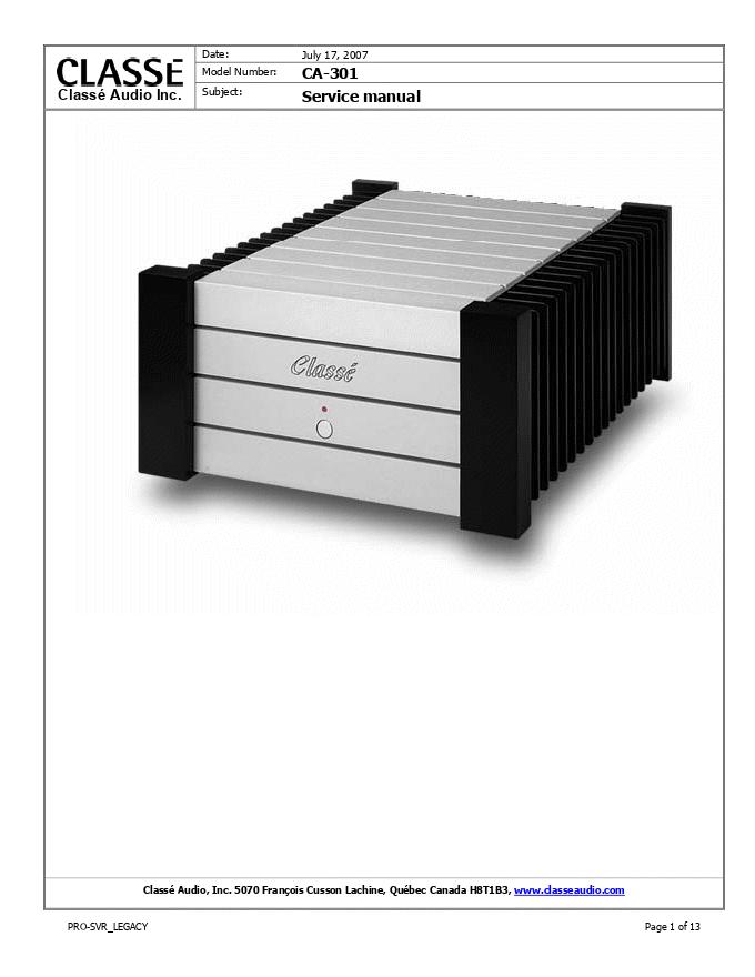 Classe Audio CA-301 功放维修手册