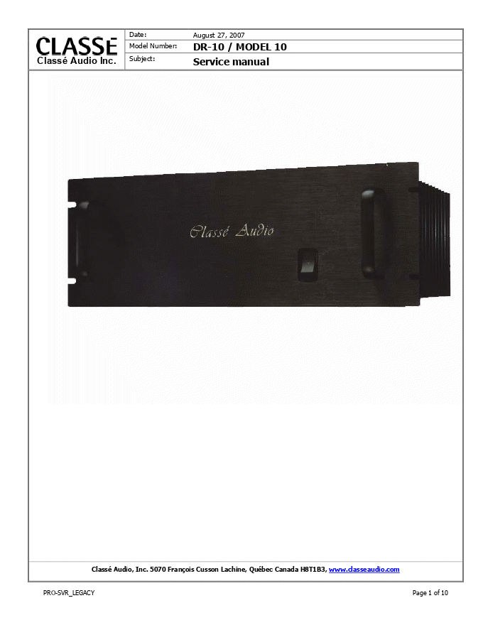Classe Audio DR-10后级放大器维修手册