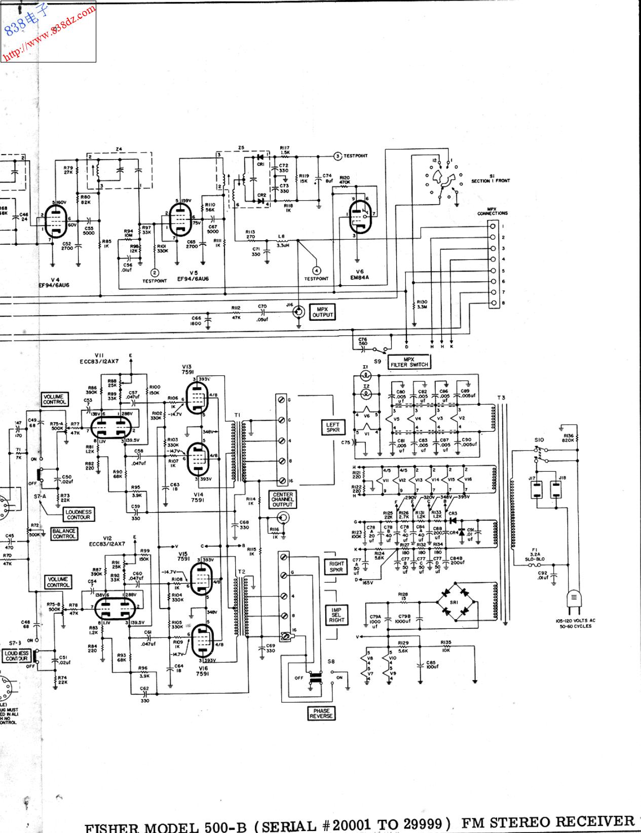 FISHER飞燕500-B胆收扩音机电路图