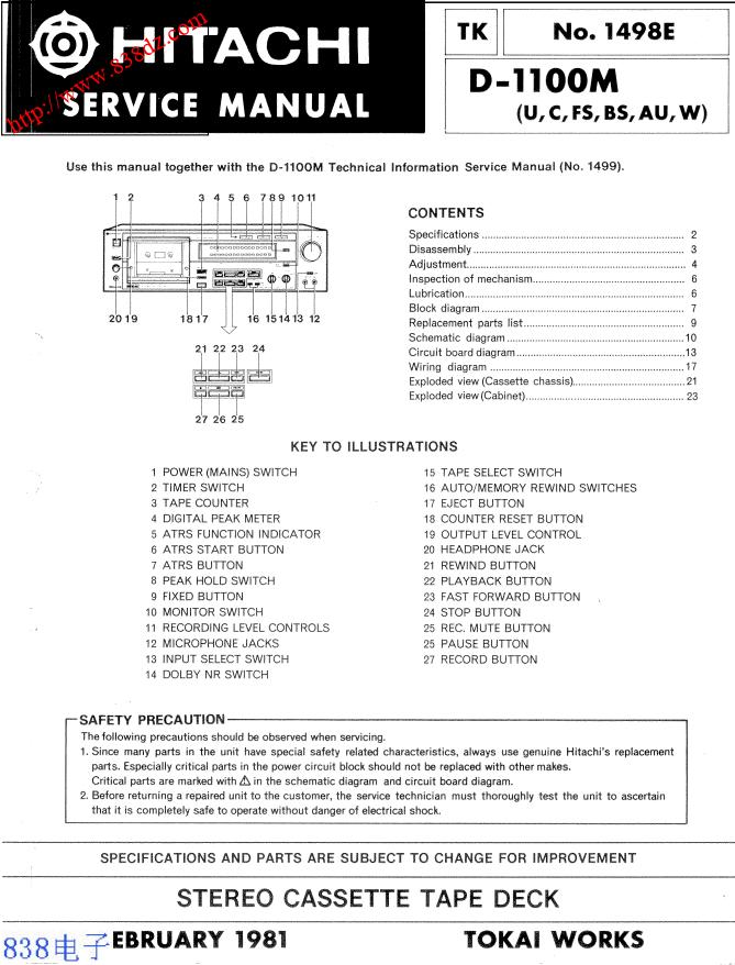 HITACHI日立 D-1100M卡座维修手册