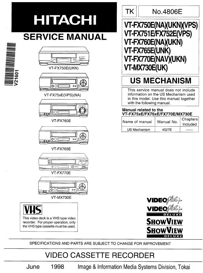 Hitachi 日立VT-FX765E录像机维修手册