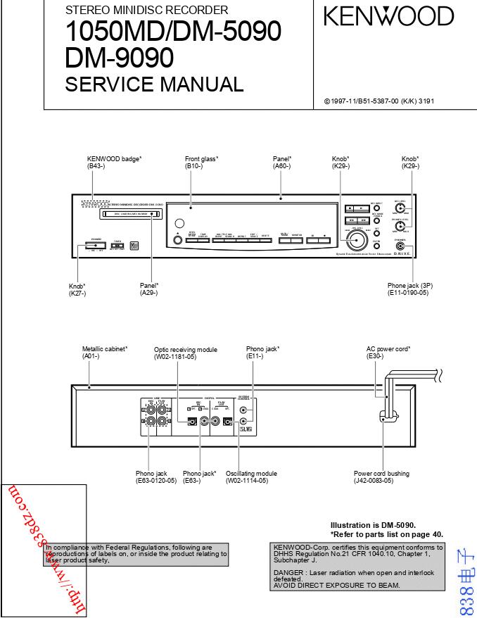 KENWOOD建伍1050MD DM-5090 DM-9090 MD机维修手册