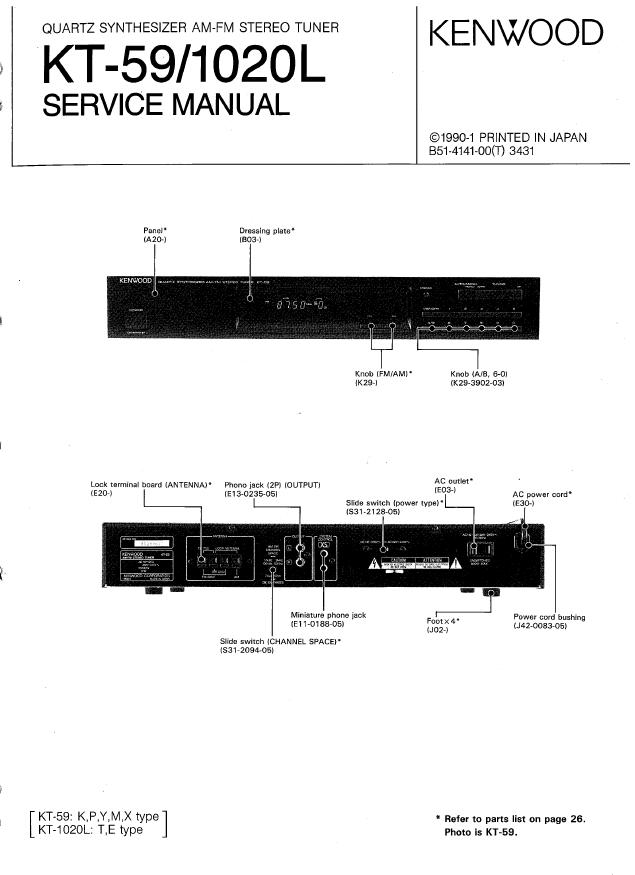 KENWOOD建伍KT-59 KT-1020L收音头维修手册
