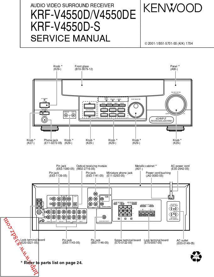 kenwood建伍 KRF-V4550D KRF-V4550DE KRF-V4550D-S功放维修手册
