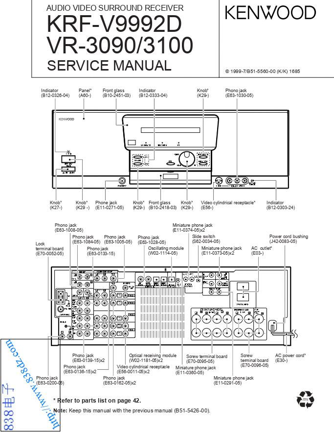 KENWOOD建伍 KRF-V9992D VR-3090 VR-3100功放维修手册