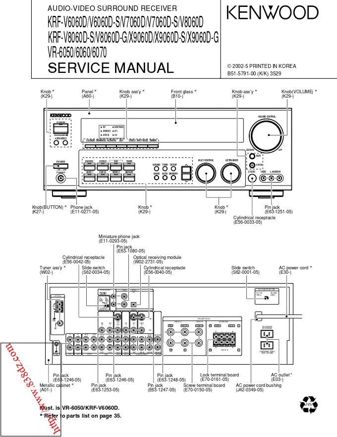 kenwood建伍KRF-V8060D KRF-V8060D-S KRF-V8060D-G KRF-X9060D功放维修手册