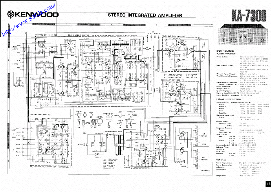 kenwood建伍KA-7300维修功放电路图