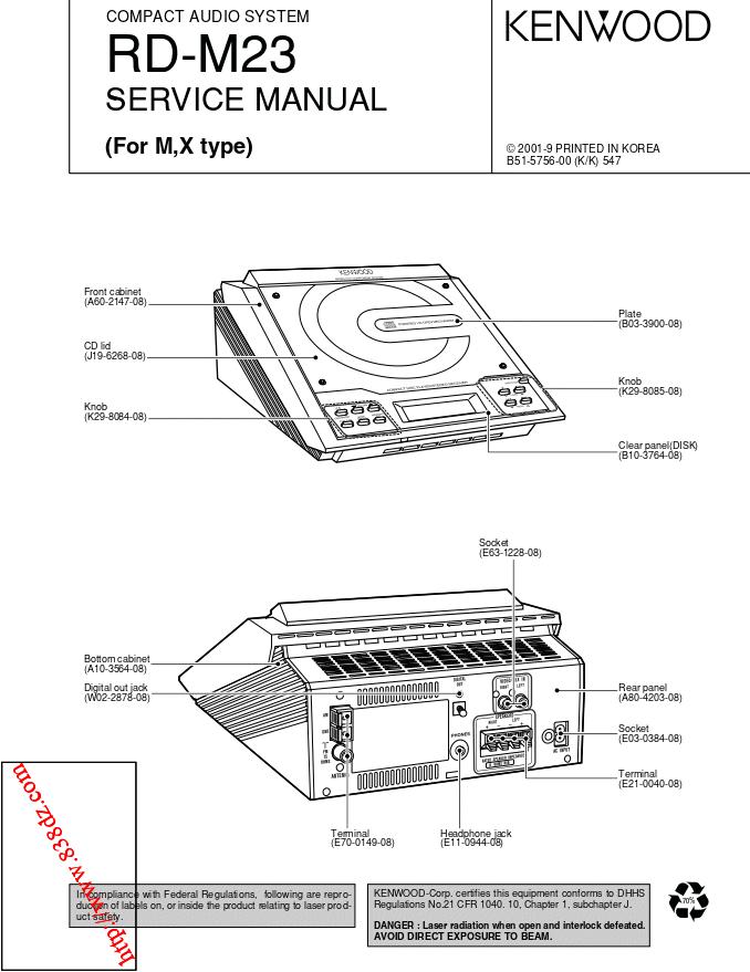 kenwood建伍RD-M23组合音响维修手册