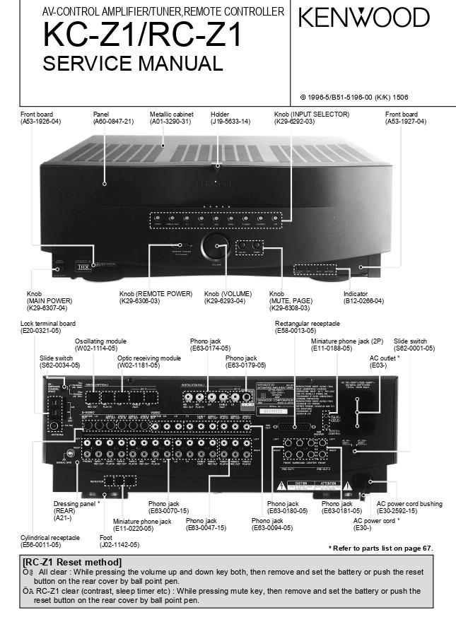 KENWOOD建伍 KC-Z1 RC-Z1前置放大器维修手册