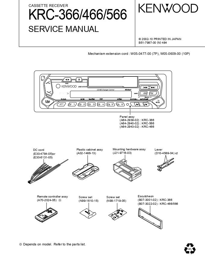 KENWOOD建伍KRC-366 KRC-466 KRC-566磁带收音机维修手册