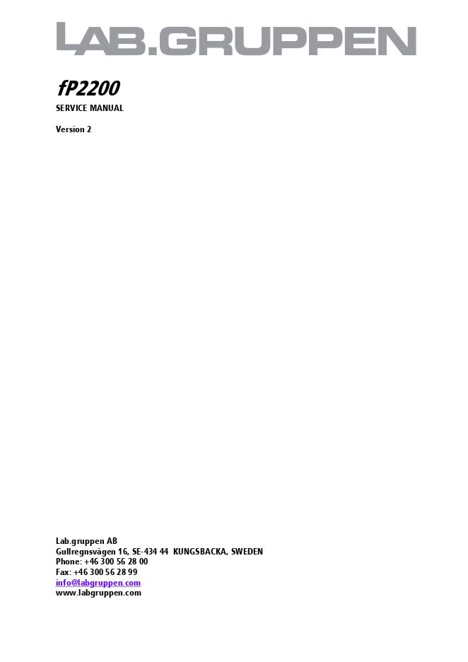 LAB-GRUPPEN FP2200功放维修手册
