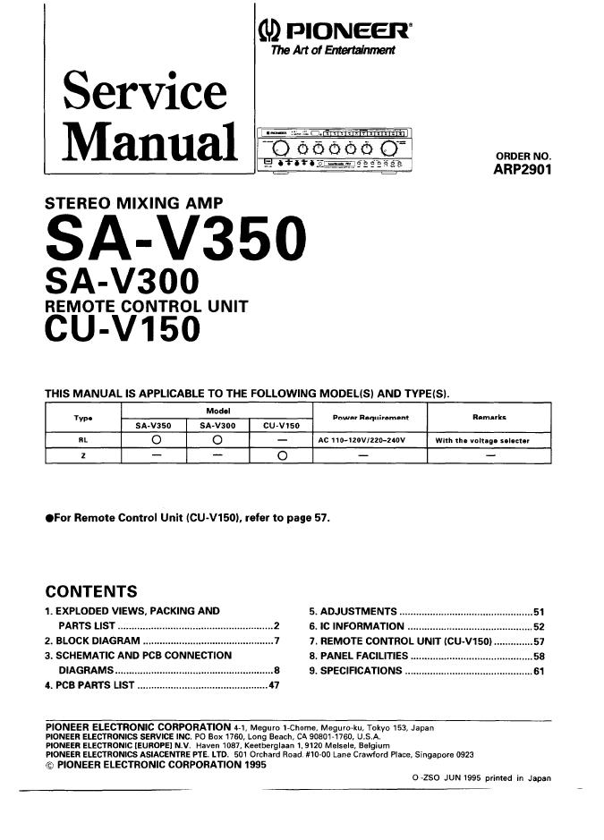 先锋Pioneer SA-V350卡拉OK功放维修手册