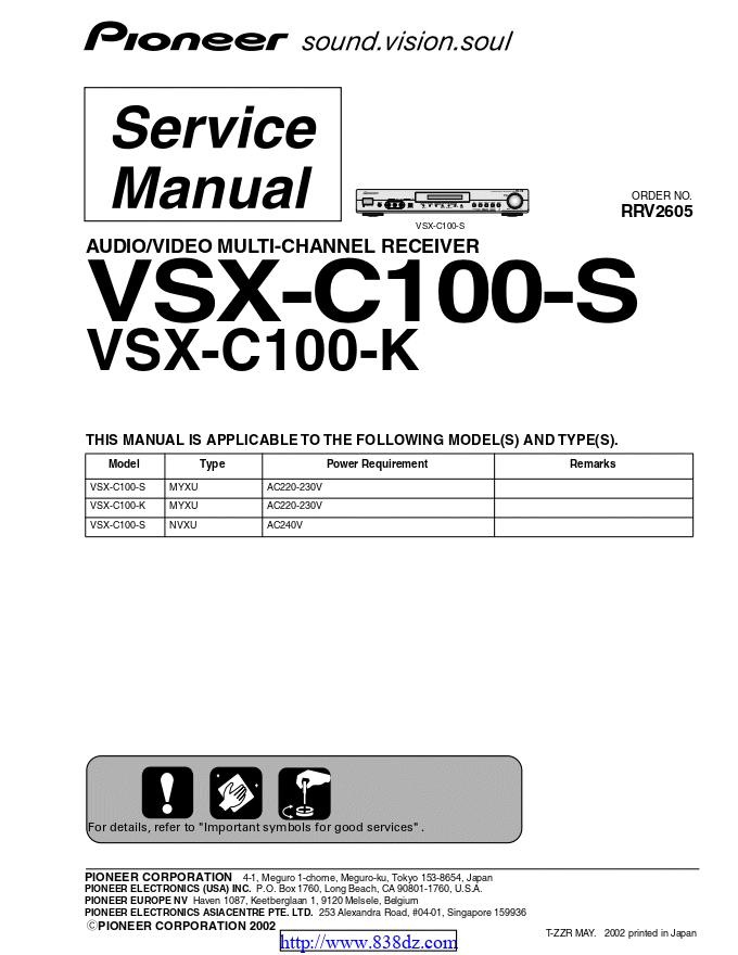 pioneer先锋 VSX-C100-K功放维修手册