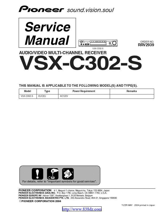 pioneer先锋 VSX-C302-S功放维修手册