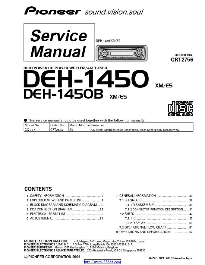pioneer先锋 DEH-1450 汽车音响维修手册