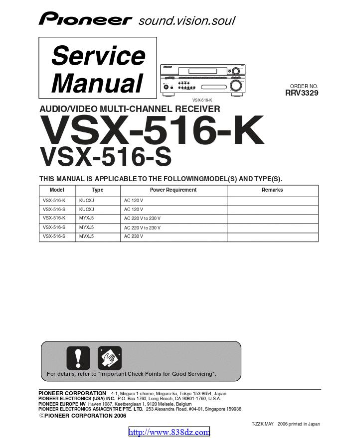 pioneer先锋 VSX-516-K功放维修手册