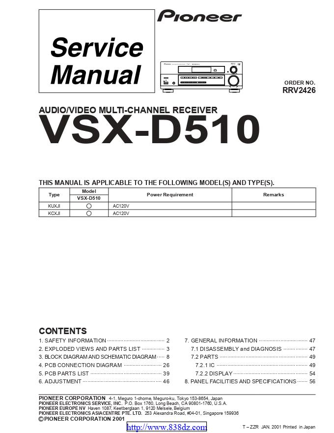 pioneer先锋 VSX-D510功放维修手册