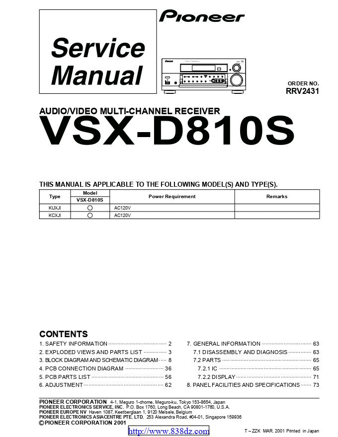 pioneer先锋 VSX-D810S功放维修手册