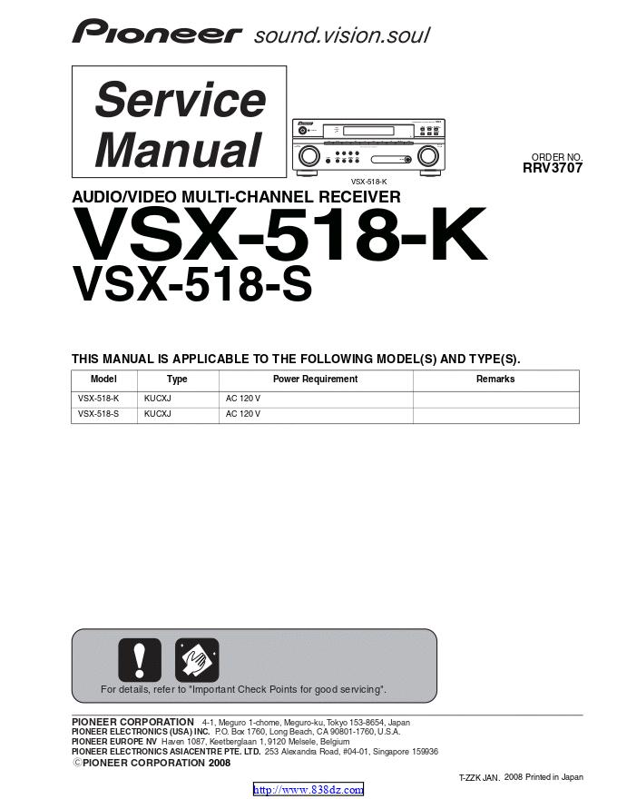 先锋pioneer VSX-518-K功放维修手册