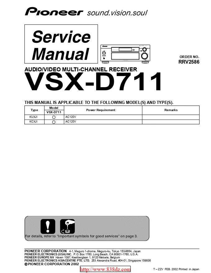 pioneer 先锋VSX-D711功放维修手册