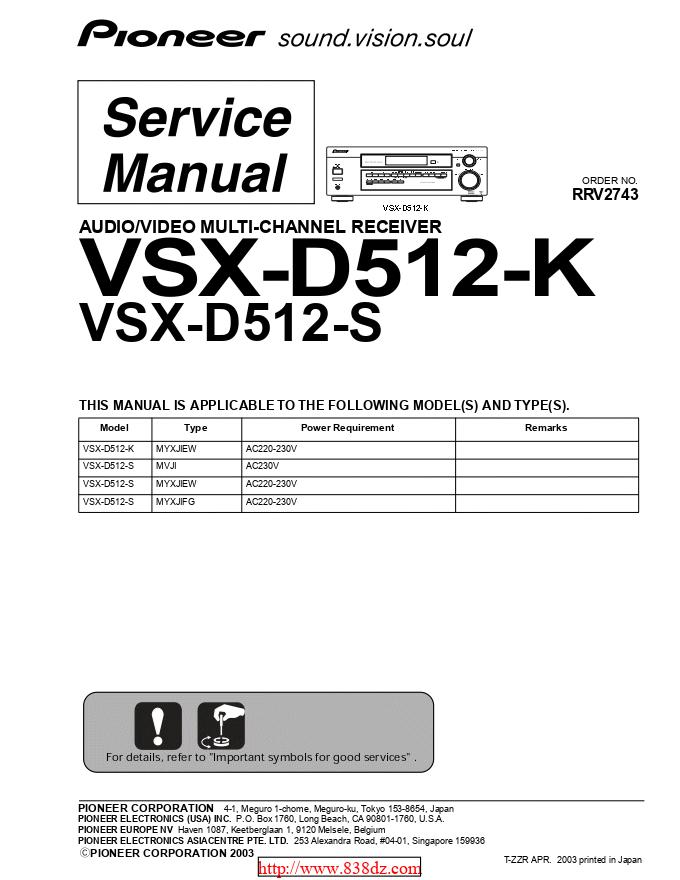 pioneer 先锋VSX-D512-K功放维修手册