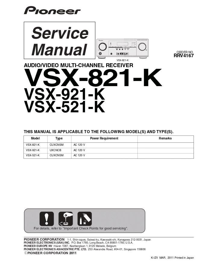 pioneer 先锋VSX-821-K功放维修手册