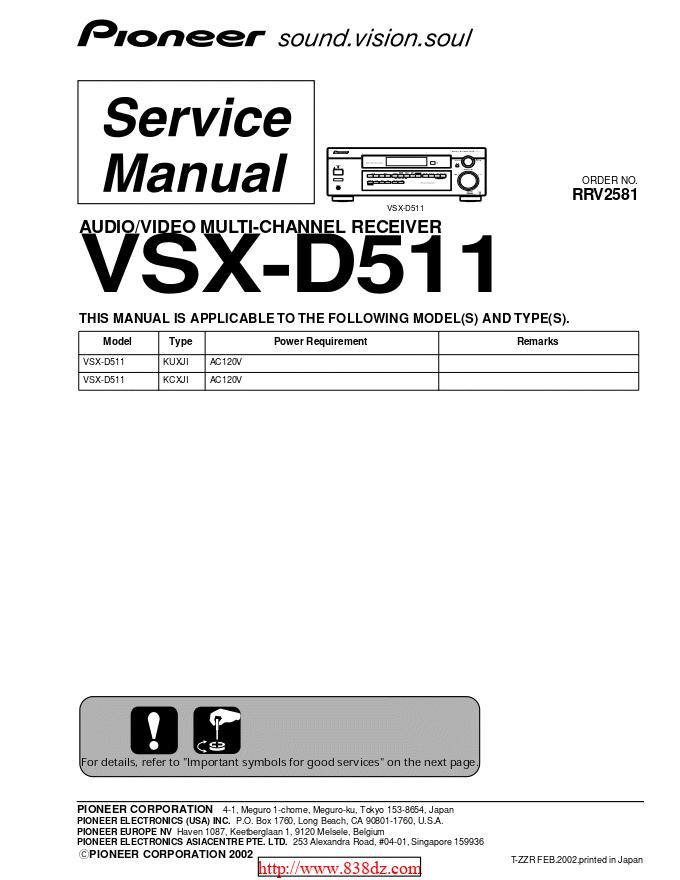 pioneer 先锋VSX-D511功放维修手册