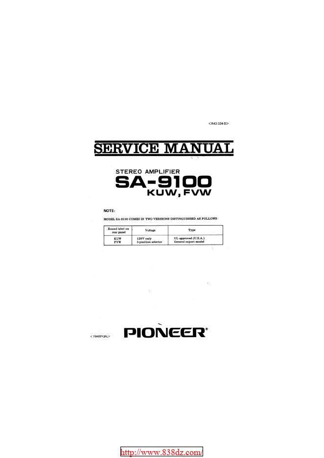 pioneer 先锋SA-9100 功放维修手册