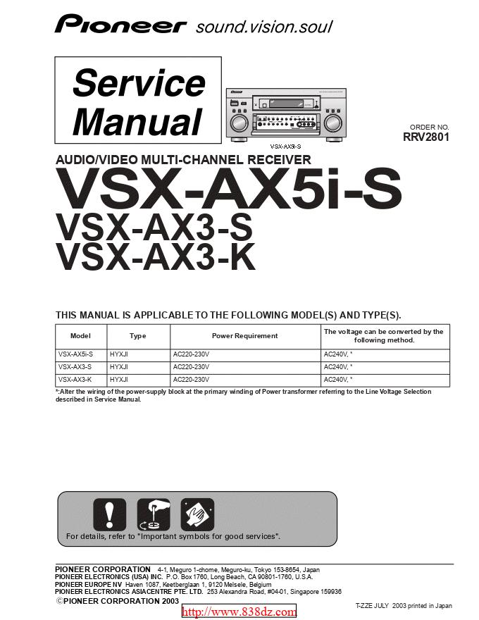 pioneer 先锋VSX-AX3-S功放维修手册