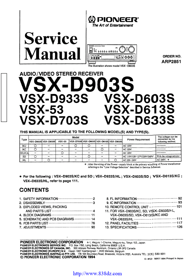 pioneer 先锋 VSX-D613S功放维修手册
