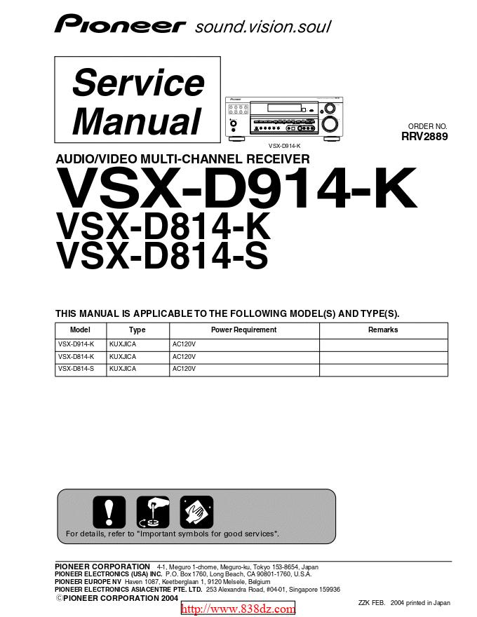 pioneer 先锋VSX-D914-K功放维修手册