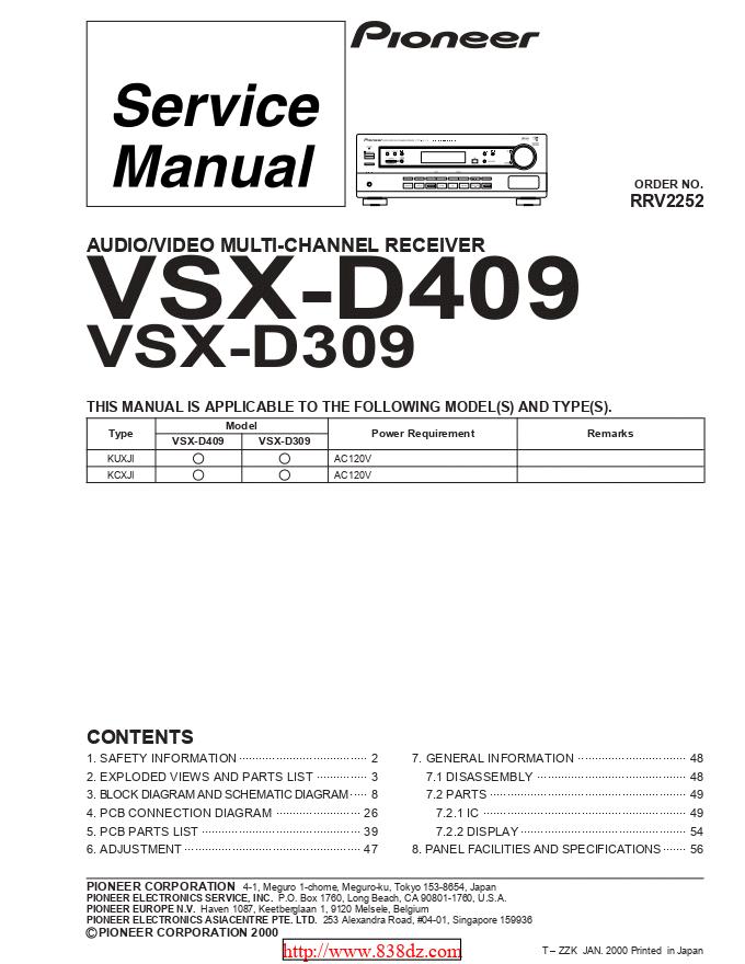 pioneer 先锋VSX-D309功放维修手册