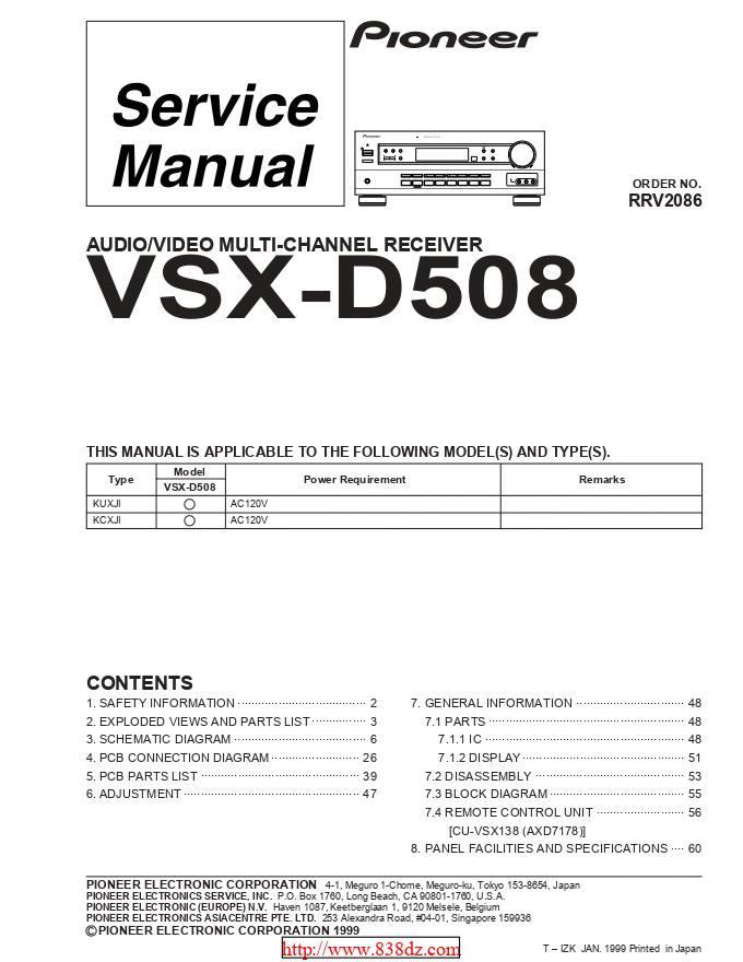 pioneer 先锋VSX-D508功放维修手册