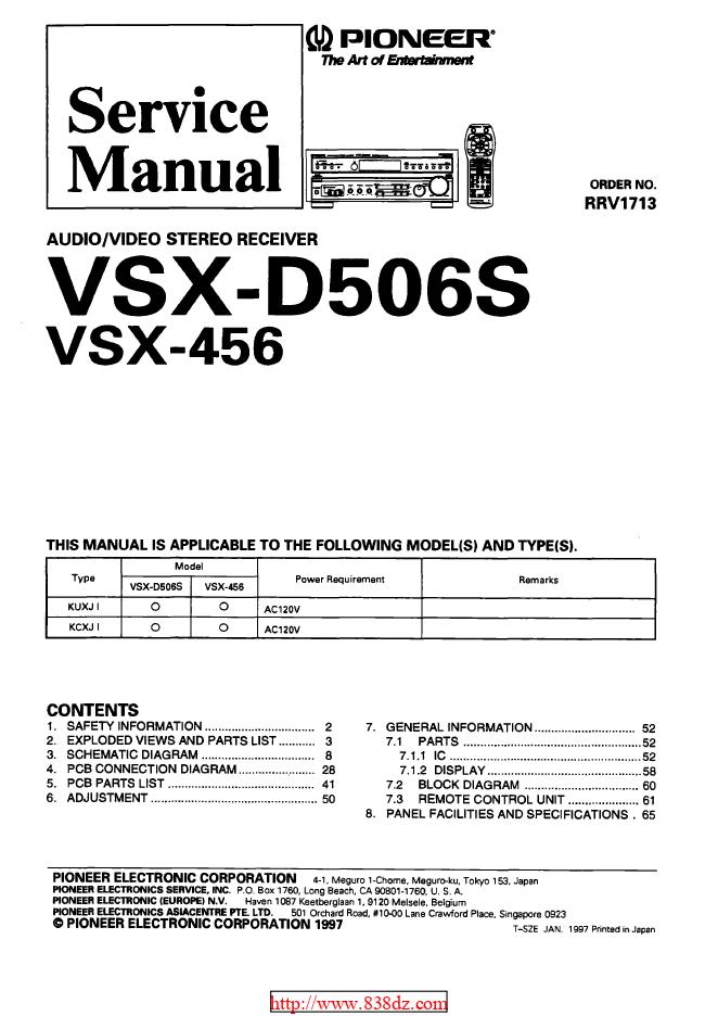 pioneer 先锋VSX-D506S功放维修图纸