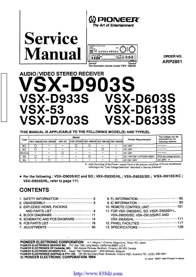 pioneer 先锋 VSX-D603S功放维修手册