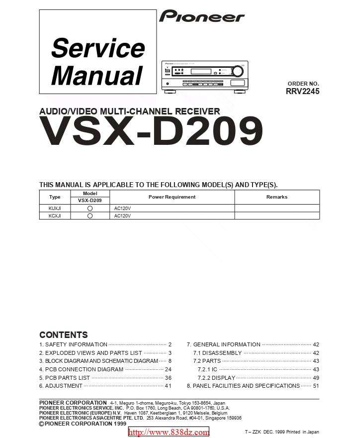 pioneer 先锋VSX-D209功放维修手册