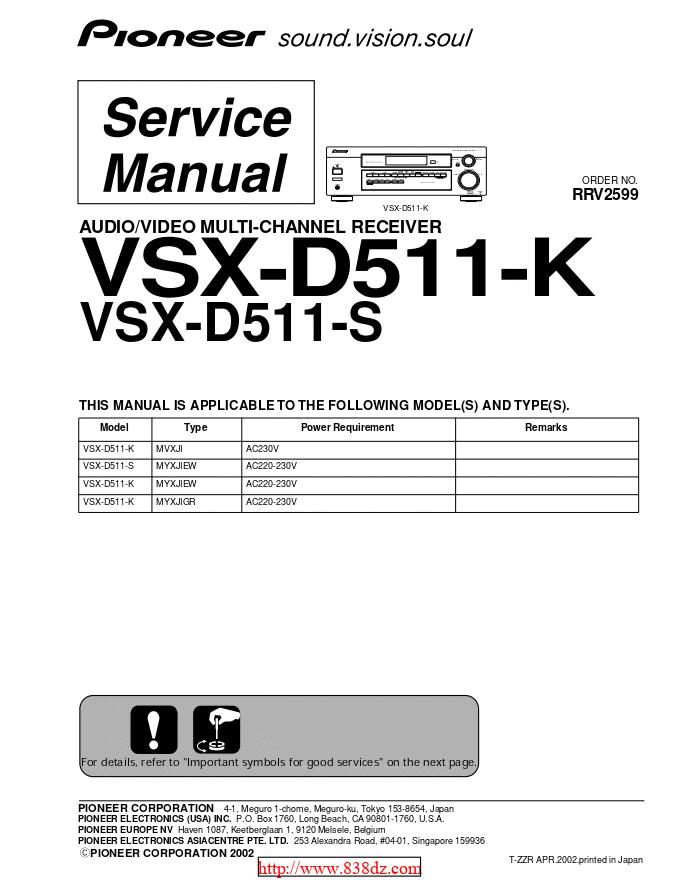 pioneer 先锋VSX-D511-S功放维修手册